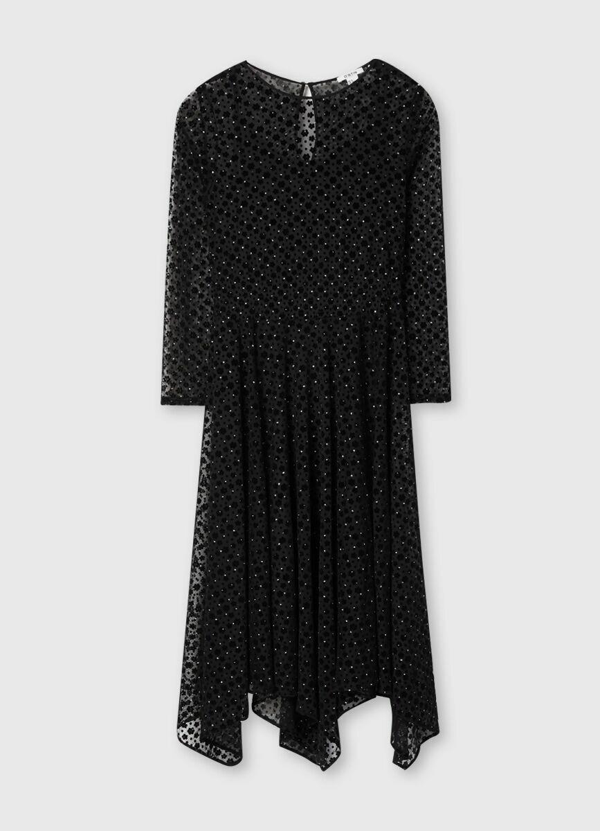 Асимметричное платье миди из сетчатой ткани