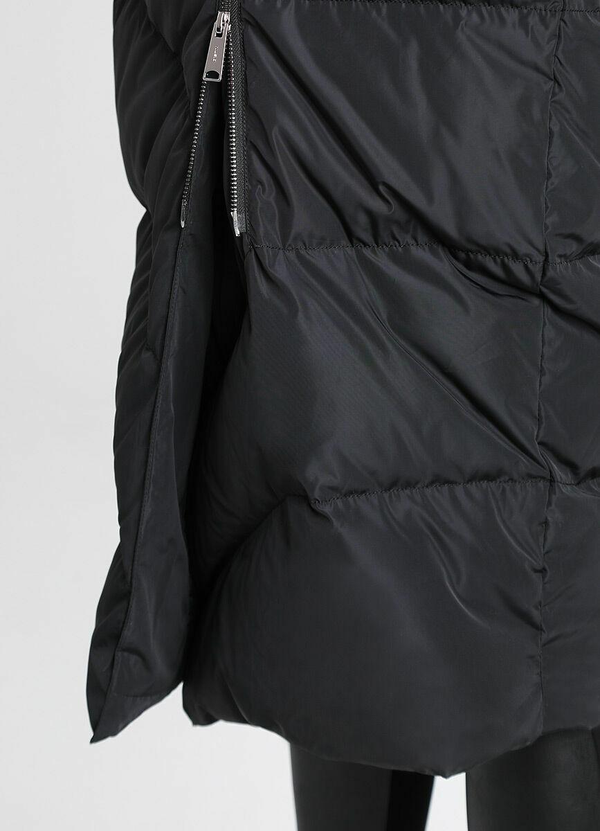 Длинное пуховое пальто с шалевым воротником