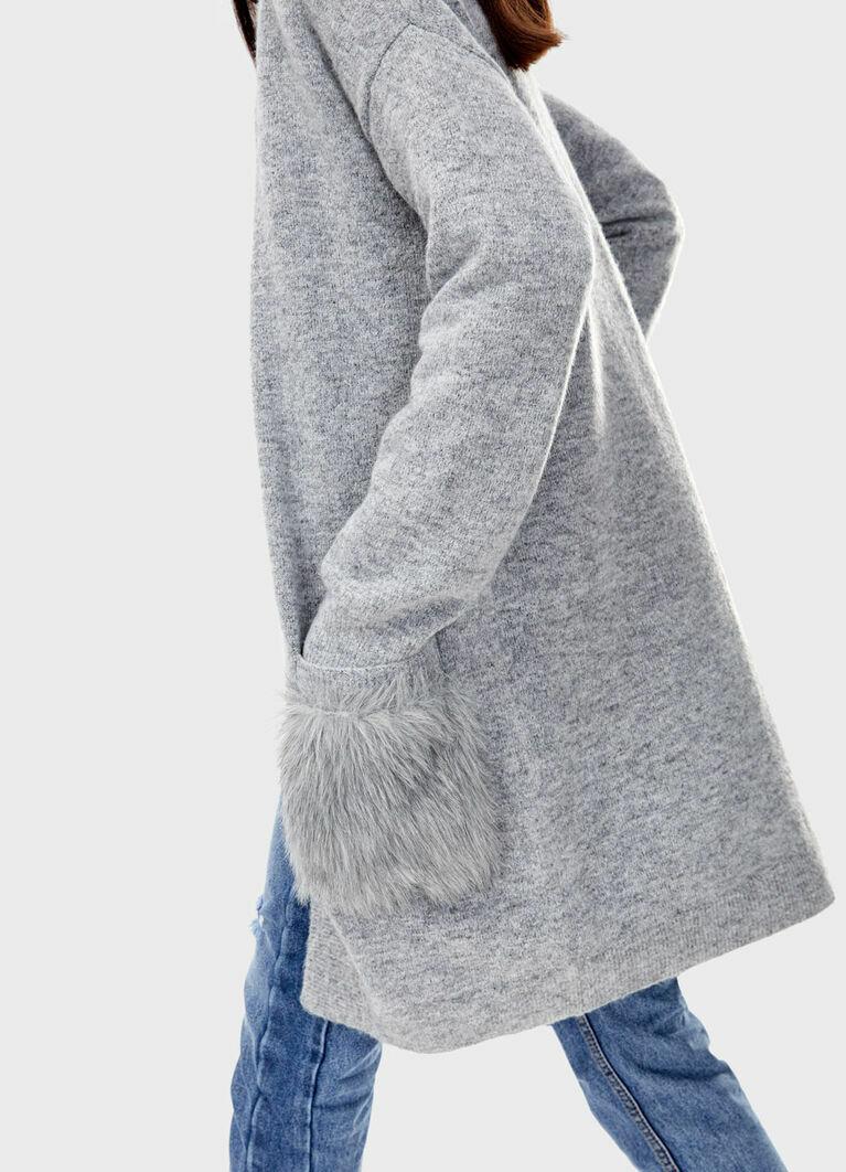 Кардиган с карманами из меха