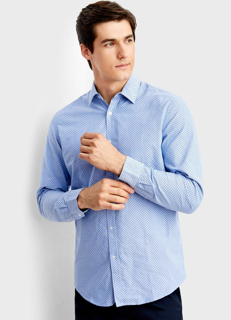 Принтованная рубашка из хлопка Oxford