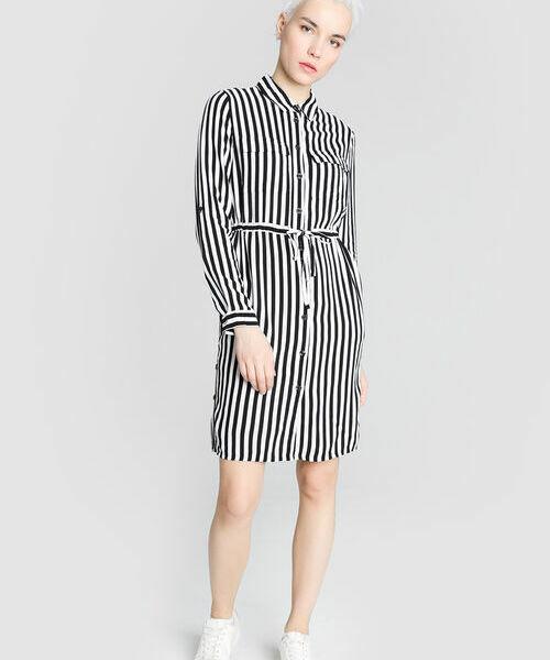 Платье-рубашка из вискозы в полоску