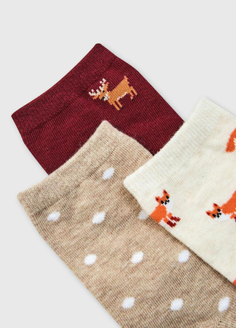 Носки с жаккардом «лисы» и «олени»