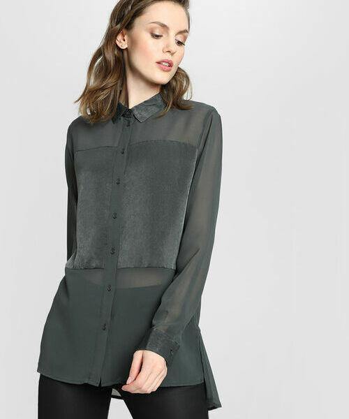 Блузка из шифона с атласной вставкой O`Stin фото