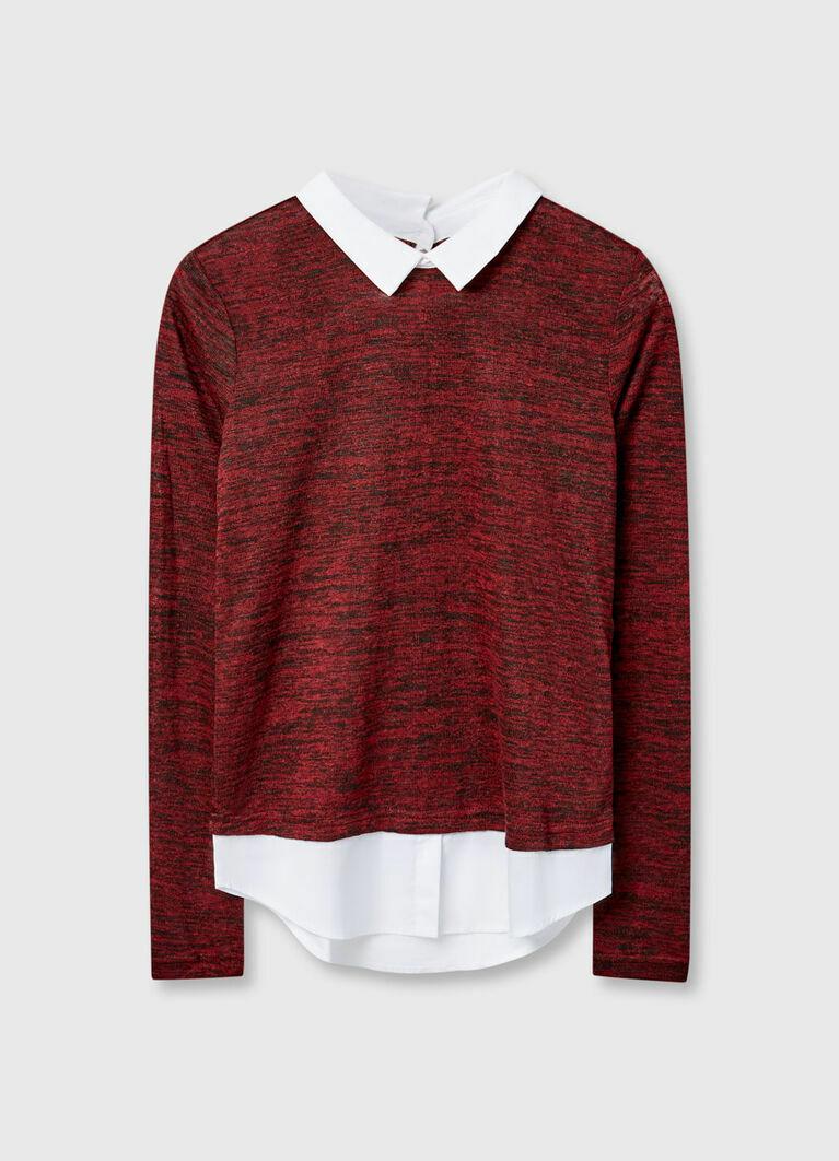 Джемпер с имитацией рубашки