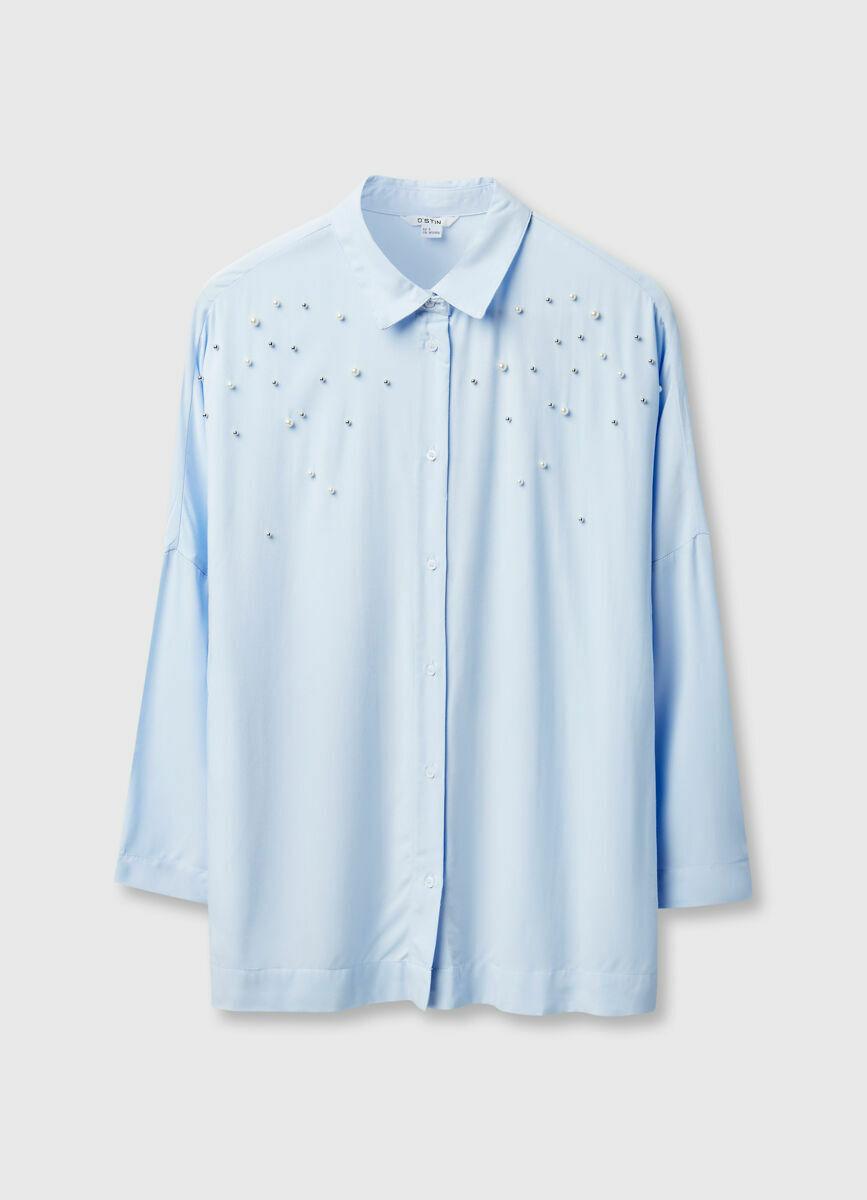 Рубашка с декором из жемчужин