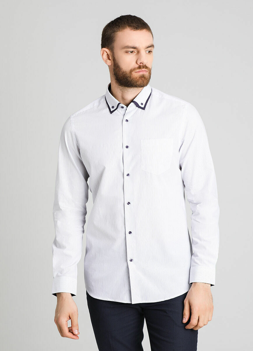Рубашка в полоску с двойным воротником