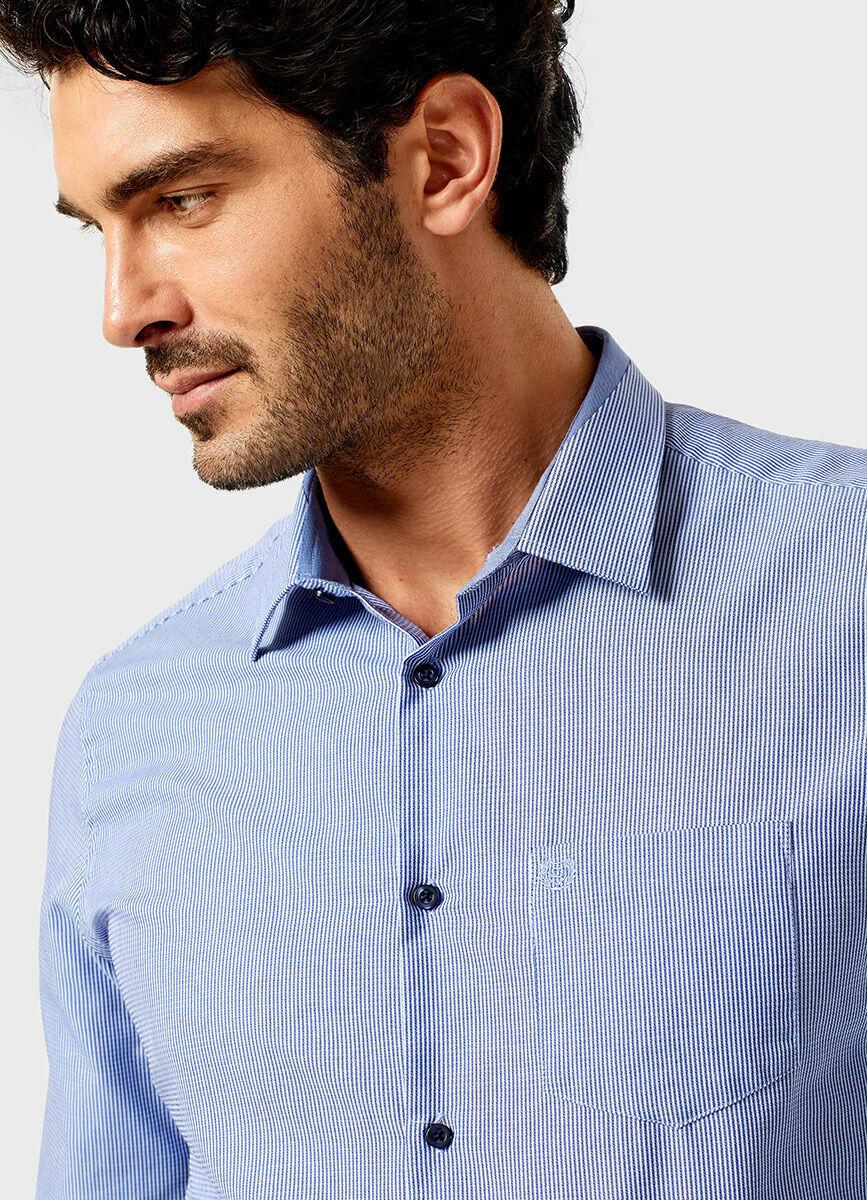 Рубашка в полоску с микрожаккардом