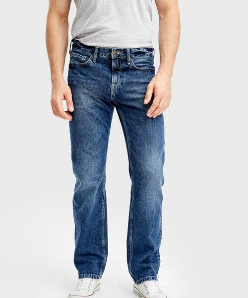 Тёмно-синие прямые джинсы ботинки синие на молнии in extenso