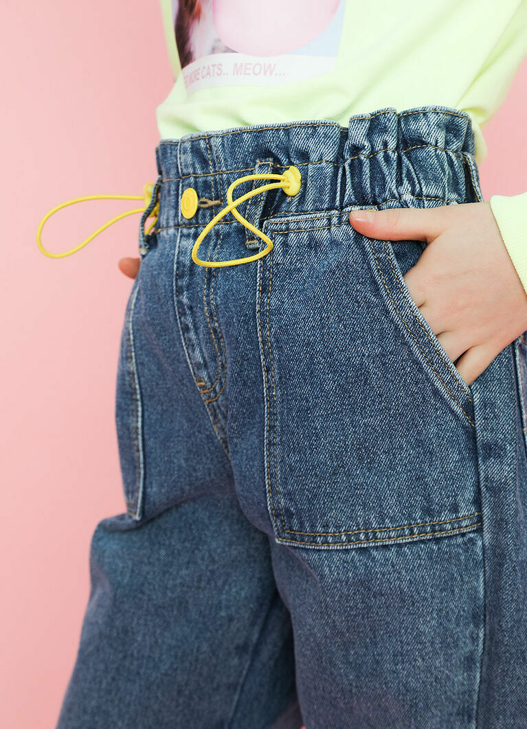 Джинсы для девочек с поясом Paper Bag