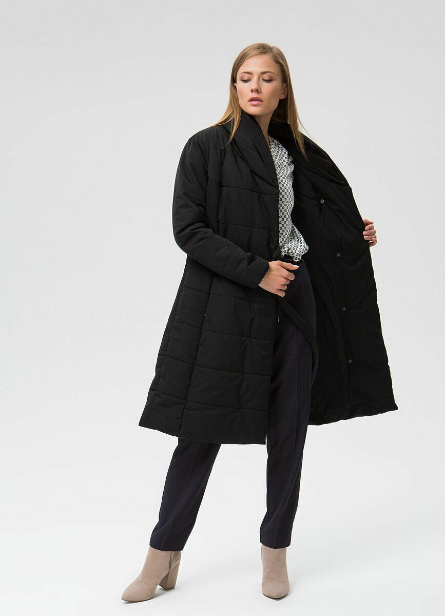 Пальто с шалевым воротником на поясе