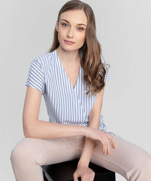 Блузка на запах из вискозы в полоску carven блузка в полоску
