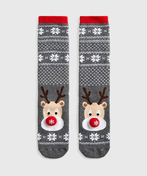 Махровые носки с жаккардом «олень»