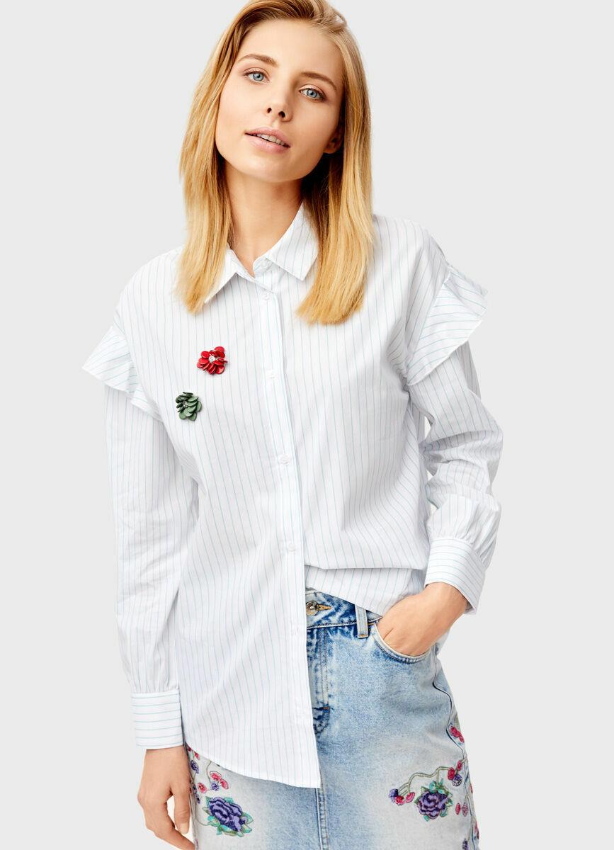Рубашка в полоску с рюшами