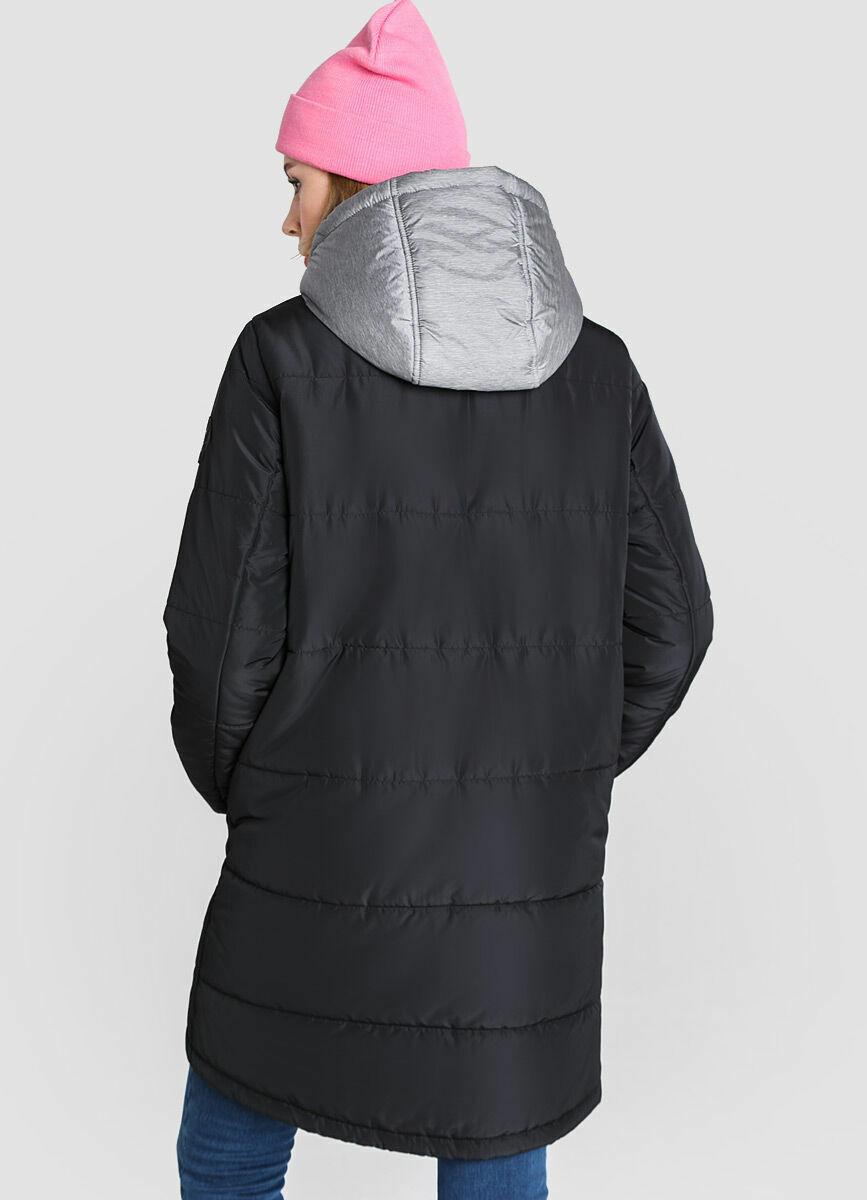 Пуховик с капюшоном из меланжевой ткани