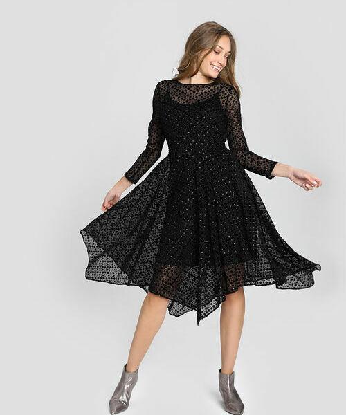 Асимметричное платье миди из сетчатой ткани асимметричное платье бандо 1001dress