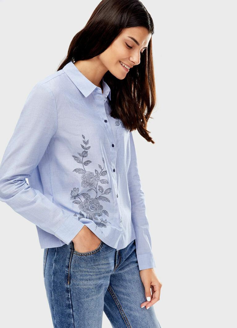 Рубашка из хлопка с принтом «цветы»