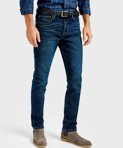 Тёмно-синие джинсы Slim fit ботинки синие на молнии in extenso