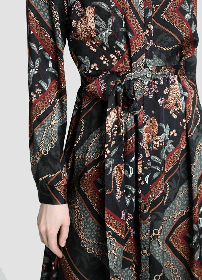 Платье миди с принтом «цепи»