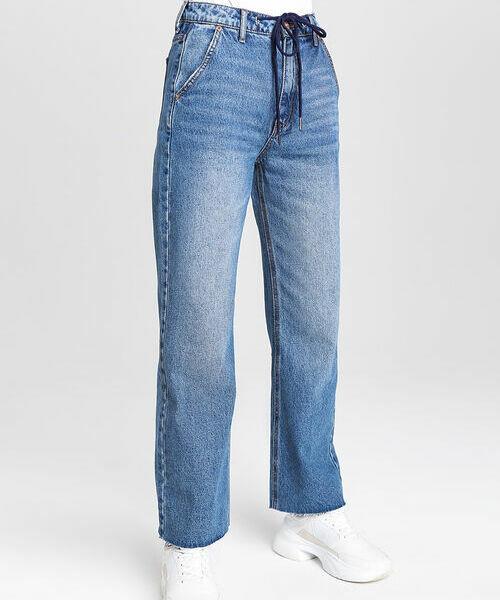 Прямые джинсы с высокой посадкой и шнурком на поясе комфортные джинсы со шнурком