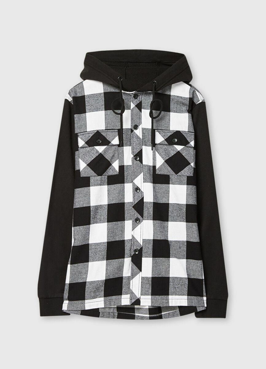 Рубашка в клетку с трикотажными рукавами и капюшоном