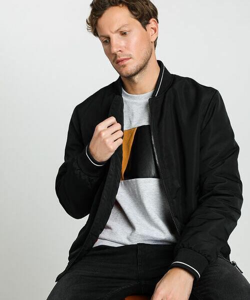 Куртка-бомбер с контрастными деталями