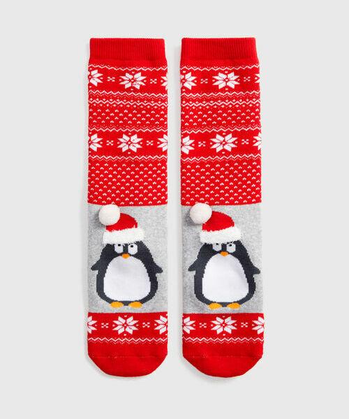 Махровые носки с жаккардом «пингвин»