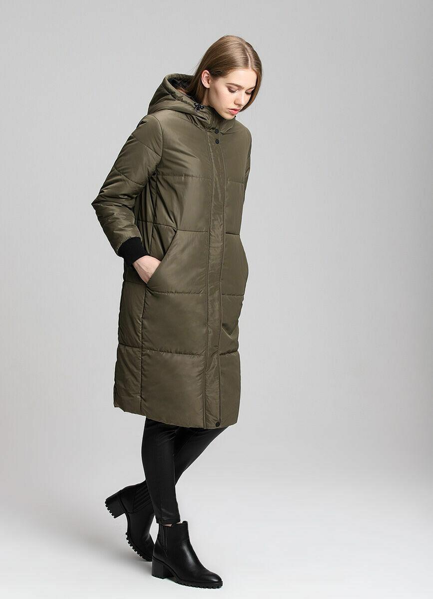 Длинное нейлоновое пальто с трикотажными манжетами