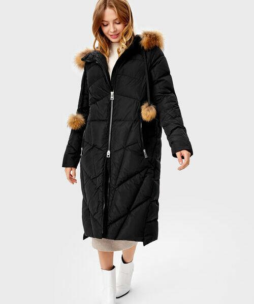 Длинное прямое пальто с мехом
