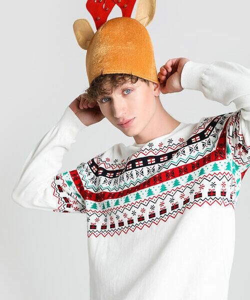 Новогодняя шапка с рогами медведь с рогами