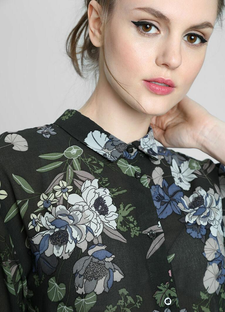Удлинённая блузка из  принтованного шифона