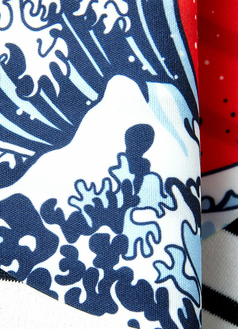 Толстовка в полоску с японским принтом