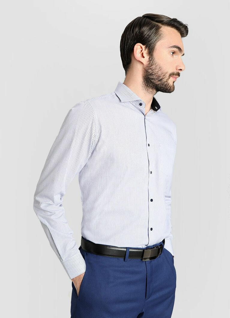 Рубашка в полоску с жаккардом