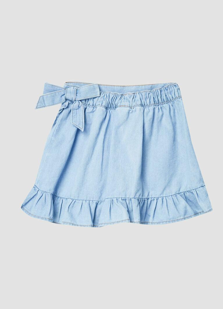 Джинсовая юбка с оборками
