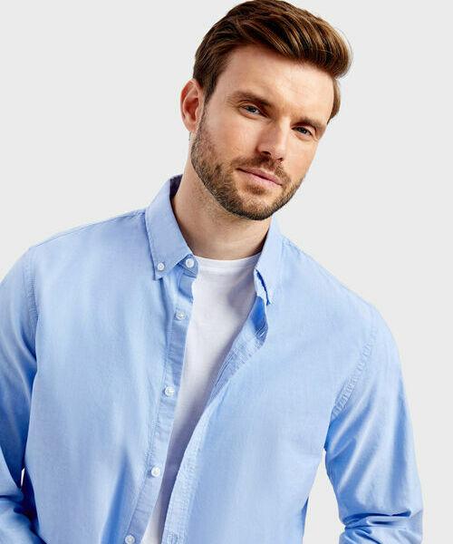 Фото - Однотонная рубашка из хлопка Oxford фото