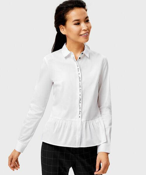 цена Белая рубашка с контрастным принтом на планке онлайн в 2017 году