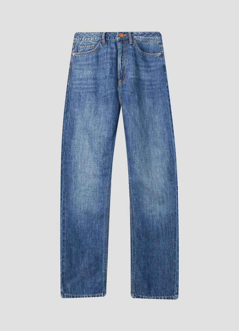 Льняные прямые джинсы с высокой посадкой