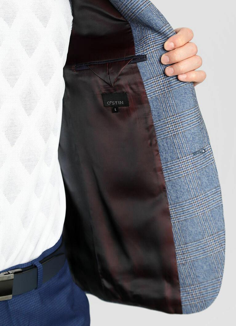 Пиджак в клетку из хлопковой ткани