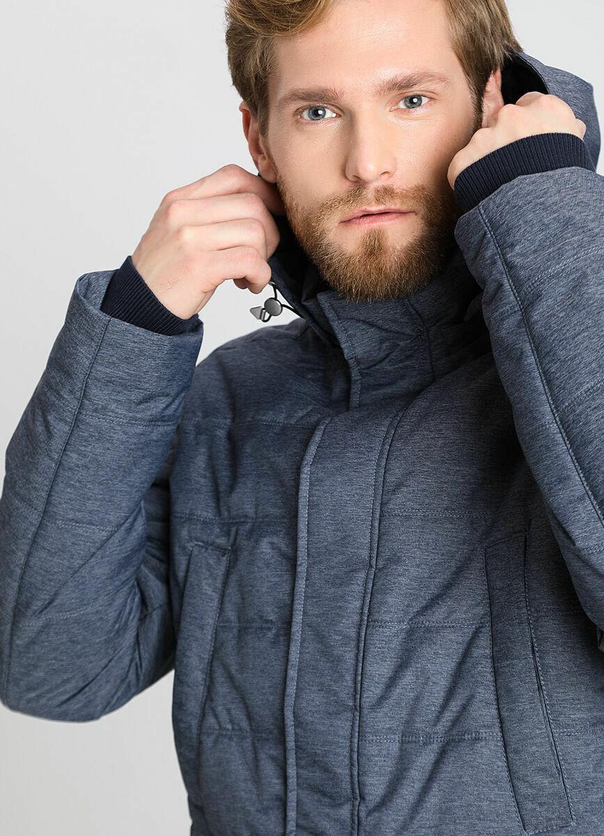 Стёганая куртка с капюшоном из меланжевой ткани